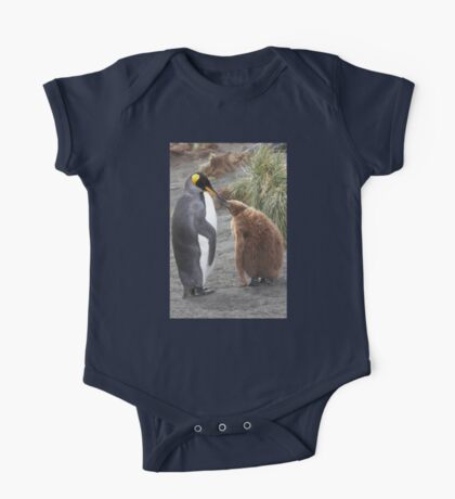 King Penguin and chick ~ Meal Time One Piece - Short Sleeve