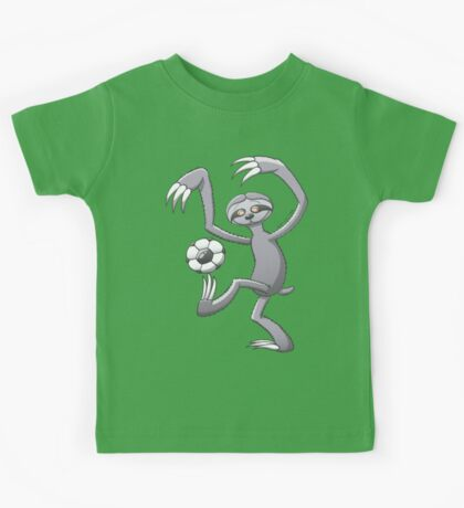 Cool Sloth Playing with a Soccer Ball Kids Tee