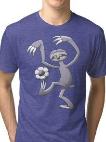 Cool Sloth Playing with a Soccer Ball Tri-blend T-Shirt