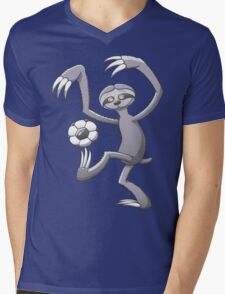 Cool Sloth Playing with a Soccer Ball Mens V-Neck T-Shirt