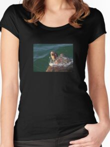 Loggerhead Turtle (Caretta Caretta) Breaking The Sea Surface Women's Fitted Scoop T-Shirt