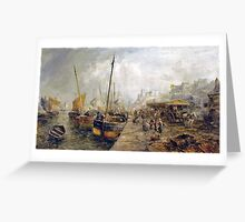 William Edward Webb - Figures Unloading Fishing Boats on a Quayside Greeting Card