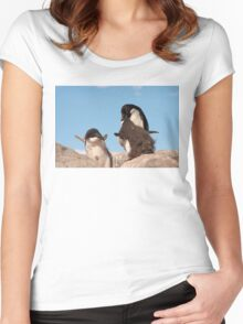 "Adelie Penguin and chicks ~ ""and WHEN do I get fed!!"" Women's Fitted Scoop T-Shirt"