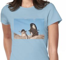 "Adelie Penguin and chicks ~ ""and WHEN do I get fed!!"" Womens Fitted T-Shirt"