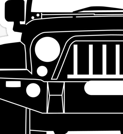 JK Jeep Wrangler with Bull Bar - Front Right Corner & Zoom - Sticker / Phone Case Sticker