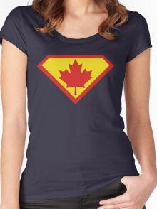 Canadian Superman Logo Women's Fitted Scoop T-Shirt