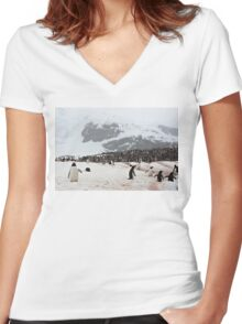 "Gentoo Penguins ~ ""Penguinville, Curville Island, Antarctica"" Women's Fitted V-Neck T-Shirt"