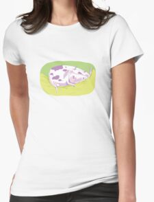Tiny Spotted Sleeping Cow Womens Fitted T-Shirt