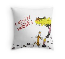 Playing with best friend Calvin and Hobbes Throw Pillow