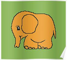 Funny cross-stitch orange baby elephant Poster