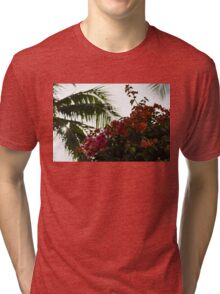 Dreaming of Tropical Gardens - Bougainvilleas and Palm Trees Tri-blend T-Shirt