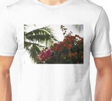 Dreaming of Tropical Gardens - Bougainvilleas and Palm Trees Unisex T-Shirt