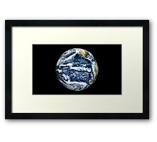 View of Full Earth centered over the Pacific Ocean. Framed Print