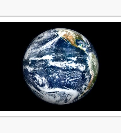 View of Full Earth centered over the Pacific Ocean. Sticker