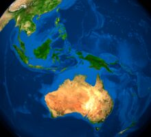 View of the full Earth showing Indonesia, Oceania, and the continent of Australia. Sticker