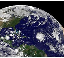 Three tropical cyclones active in the Atlantic Ocean basin. Photographic Print