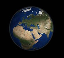 Full Earth view showing Africa, Europe, the Middle East, and India. by StocktrekImages