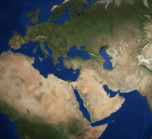 Full Earth view showing Africa, Europe, the Middle East, and India. Sticker