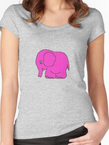 Funny cross-stitch pink elephant Women's Fitted Scoop T-Shirt