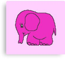 Funny cross-stitch pink elephant Canvas Print