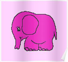 Funny cross-stitch pink elephant Poster