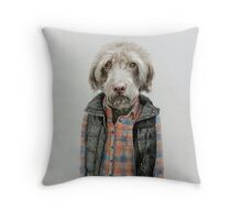 dog in shirt Throw Pillow