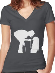Robbers Silhouette (white) Women's Fitted V-Neck T-Shirt