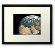Global view of earth over Europe, Middle East, and northern Africa. Framed Print
