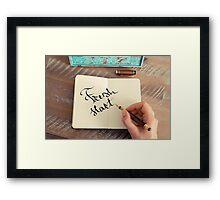 Motivational concept with handwritten text FRESH START Framed Print
