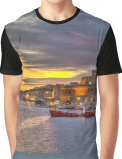 Valletta Grand Harbour Sunset  Graphic T-Shirt