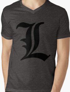 Death Note L symbol Mens V-Neck T-Shirt