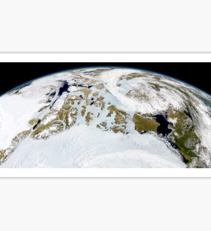 Partial view of Earth showing northern Canada and northern Greenland.  Sticker