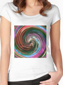 Modern Colorful Swirl Abstract Art #3 Women's Fitted Scoop T-Shirt