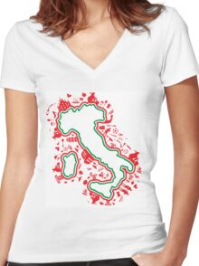 italian map with silhouette symbol set Women's Fitted V-Neck T-Shirt