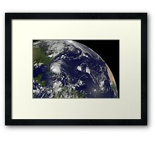 Satellite view of Hurricane Irene moving through the Bahamas. Framed Print