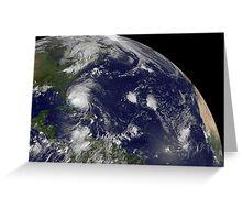 Satellite view of Hurricane Irene moving through the Bahamas. Greeting Card