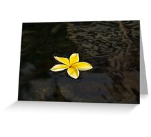 Golden Yellow - Sparkling Plumeria Blossom in Dark Waters Greeting Card
