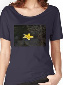 Golden Yellow - Sparkling Plumeria Blossom in Dark Waters Women's Relaxed Fit T-Shirt