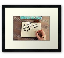 Motivational concept with handwritten text A GOAL WITHOUT A PLAN IS JUST A WISH Framed Print