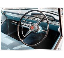 Vintage car steering wheel Poster