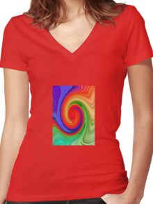 Raspberry Ripple In Green, Ochre , Purple and Blue Rainbow Women's Fitted V-Neck T-Shirt