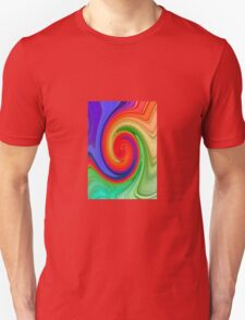 Raspberry Ripple In Green, Ochre , Purple and Blue Rainbow T-Shirt