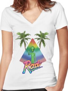Vaporwave Alien Women's Fitted V-Neck T-Shirt