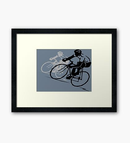 Sports Lover | Bicycle Racing Silhouette Framed Print