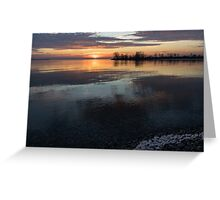 Icy Sunrise - Winter Waterfront Tranquility Greeting Card