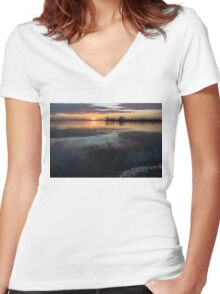 Icy Sunrise - Winter Waterfront Tranquility Women's Fitted V-Neck T-Shirt
