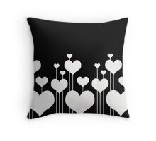 White Love Hearts - Valentines Throw Pillow