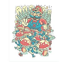 Mario Bros vs. Smurfs Photographic Print