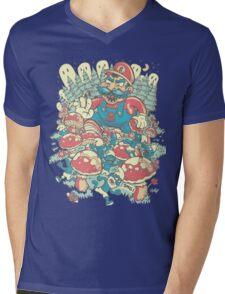 Mario Bros vs. Smurfs Mens V-Neck T-Shirt