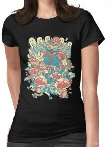 Mario Bros vs. Smurfs Womens Fitted T-Shirt